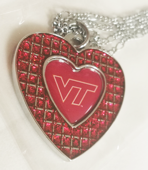 VIRGINIA TECH (MAROON) GLITTER STONE HEART NECKLACE