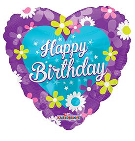 "18"" Happy Birthday Purple Heart With Flowers"
