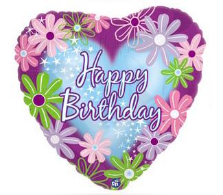 """Mylar - 18 """" Happy Birthday Twinkle Stars"""