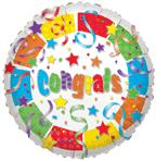 "Mylar - 18"" Congrats White Streamers"