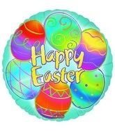 """18"""" Happy Easter Blue Many Eggs"""
