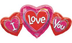 "26"" Jumbo I Love You Triple Hearts Shaped Mylar Balloon"