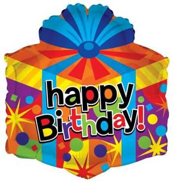 "18"" Happy Bday Gift Box Shape"