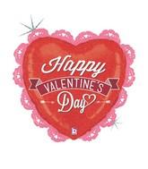 "29"" Holographic Shape Balloon Valentine Ruffled Heart"